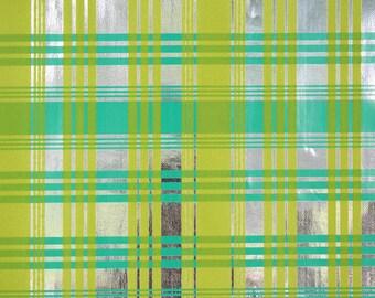 1970's Retro Flocked Vintage Wallpaper Green Flock Plaid on Silver Mylar