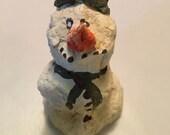 Christmas Handmade snowman paper mache snowmen OOAK decorations holiday winter decor