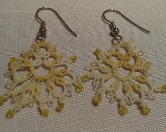 Yellow Tatted Earrings with Beads