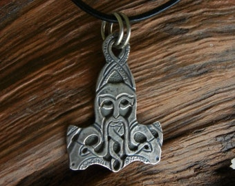 Oku-Thor Style Silver Thor's Hammer Necklace