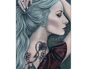 Silence ACEO PRINT  Art Woman Portrait Gothic Pastel Goth Tattoos Lock and Key Mint Green Hair Profile Long Hair Bubblegoth Acryl gouache