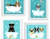 Custom Print Set for Erica - Set of 4 Prints - Bubble Bath Dog Theme