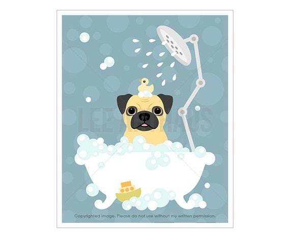 27F Dog Art Print - Fawn Pug in Bathtub Wall Art - Pug Drawing - Blue Nursery Dog Theme - Pug Lover Gift - Bath Decor - Bubble Bath Print