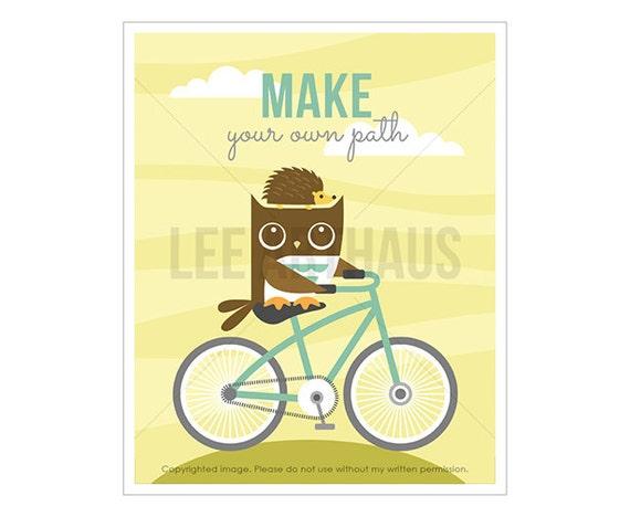 13T Owl Nursery Print - Make Your Own Path - Owl and Hedgehog on Bicycle Wall Art - Bicycle Print - Owl Art Prints - Woodland Nursery Art