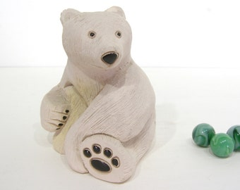 Polar Bear, Artesania Rinconada Vintage Collectible Figure, stocking stuffer, handcarved, handpainted folk art, Uruguay