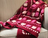 pink handmade afghan - flower and dot pattern knitted blanket