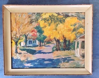 large framed fall landscape print - vintage lithograph - Autumn Lane
