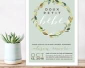 French theme Baby Shower Invitation, Petit bebe Modern Baby Shower Invite,  Vintage french Shower Invitation, Printable shower invitation