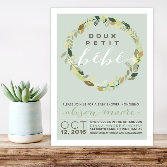 Modern Baby Shower Invitations: French Theme Baby Shower Invitation Petit Bebe Modern Baby