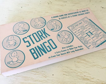 stork bingo - baby shower game from the 1950s - party game for new parents - retro mid century fun