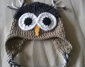 Crocheted Owl Hat (Brown)