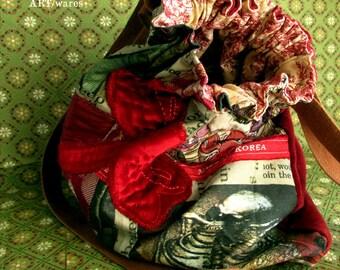 Red Velvet Dragonfly Slouchy Boho Handbag