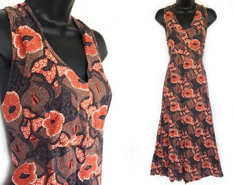 Vintage 70s Brown Abstract Floral Print Halter Dress XL