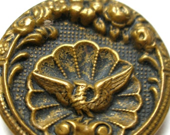 "LG Bird BUTTON,  Victorian Eagle on Shell metal button 1 1/16"", phoenix."