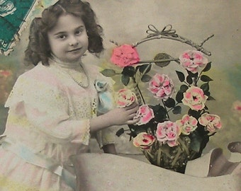 Antique French postcard, Edwardian girl with flowers,  RPPC paper ephemera.