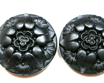 "2 Antique GLASS buttons, Vintage matte black flowers, 7/8""."