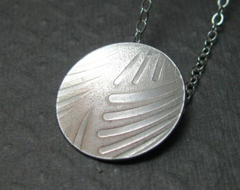Pattern Tag Necklace in Sterling Silver, Artisan Tag Necklace, Sterling Silver Pattern Pendant