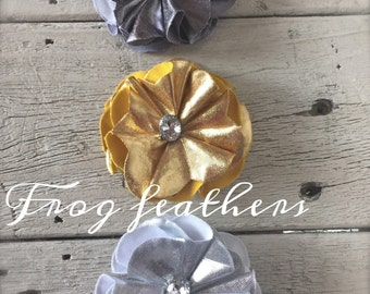 99 CENTS SALE--Gold, silver, and grey--Flowers-Folded Petal with Rhinestone and Pearl-2 1/8 inch-set of 3