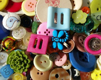 Assorted Buttons - Bulk Sewing Buttons - Shank Buttons - Cabochons - Toggles - Resins - 100 Buttons - MASON JAR MIX
