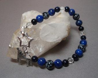 Wolf Star - Snowflake Obsidian Lapis Lazuli Blue Goldstone and Clear Quartz Crystal Gemstone Toggle Clasp Bracelet Metal Wolf Charm