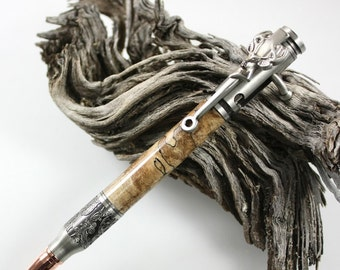Father's Day Bolt Action Pen Deer Hunter Handmade Gift Antique Pewter and Spalted Maple Wood Hand Turned Writing Pen