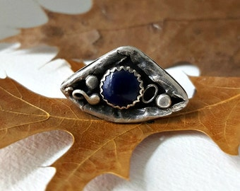 Sterling Silver Statement Ring, Enameled Copper, Organic, Distressed, Eclectic, Gypsy Boho, Bohemian Ring, Artsy Silver Ring
