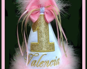 Pink and Gold Glitter 1st Birthday Hat,  2nd Birthday Hat, First Birthday Hat, 3rd Birthday Hat, 4th Birthday Hat      by GINGHAM BUNNY