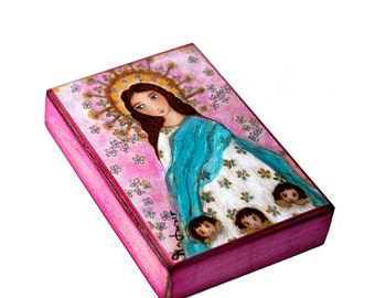 Immaculate Conception with Angels - Aceo print mounted on Wood (2.5 x 3.5) Folk Art  by FLOR LARIOS