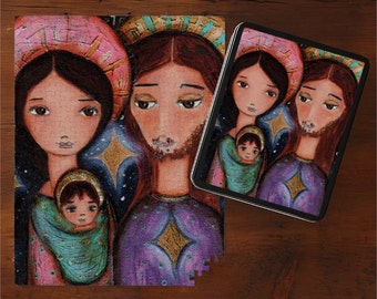 On Sale - Price already reduced - Nativity Stars - Art Puzzle - Folk Art By FLOR LARIOS