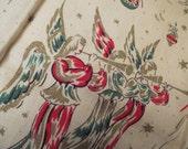 Vintage Tea Kitchen Towel Christmas Angels & Elves Red Green Gold