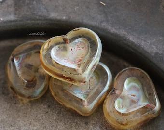 AMBER THUMPER .. 4 Premium Picasso Czech Heart Beads 14x12mm (5357-4)