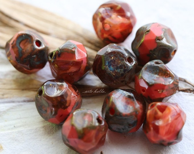 CORAL NUGGETS .. 10 Picasso Czech Glass Baroque Beads 8mm (1843-10)