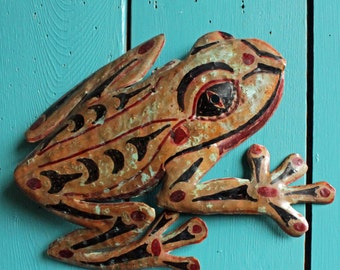Frog Spirit I - copper metal treefrog wall hanging - Pacific Northwest Coast Indian inspired - with turquoise blue-green patina - OOAK