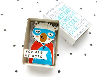 Superhero Bear - The Instant Comfort Pocket Box -  you are my hero - appreciation gift in a box