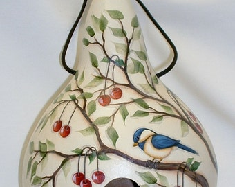 Chickadee with Red Cherries Gourd Birdhouse - Hand Painted