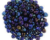 4mm Iris - Blue , Faceted Round Beads, Fire polish Czech Glass, Sold 50 Piece Strand
