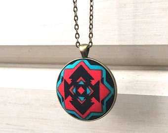 Handmade Fabric Pendant Necklace-Southwestern Native American Style and Theme- Perfect Gift or Add to Your Existing Collection.
