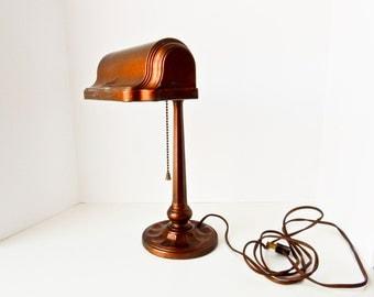 Antique Desk Lamp, Table Lamp, Pull Chain Light