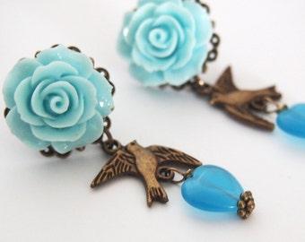 Dangle Earrings Blue Bird Lovers Dangle Stud Earrings Dark Mourning Pastel Goth Chic