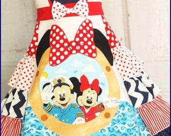 Gilrle Minnie Cruise Dress Custom made sizes 2 3 4 5 6 7 8 9 10