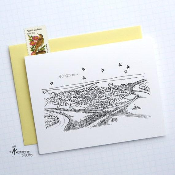 Williston, North Dakota - United States - City Skyline Series - Folded Cards (6)