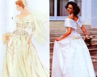 """Vintage Simplicity 8243 Misses Wedding Gown or Brides Dress Sewing Pattern Size 6-10 Bust 30.5""""-32.5"""""""