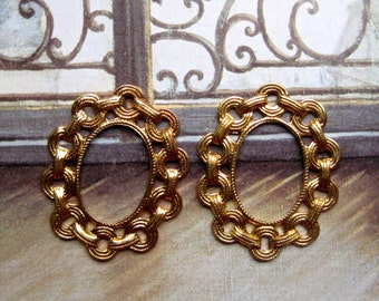 Vintage Brass Stampings, Oval Gold Chain Link Brass Frame Stampings Gold Plate Jewelry Making Supplies Findings, Stamped Brass Components 2