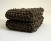 Knitted Dish Cloth / Dark Brown Cloth / Knit Wash Rag / Cotton Dish Rag / Brown Knit Dish Rag / under 10 gift