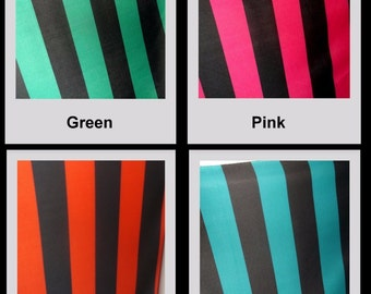 "3.25"" Green Black Thick Stripe Poly Stretch Fabric BTY"