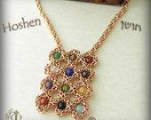 HOSHEN NECKLACE -  Aaron's breastplate with 12 Israel tribe Genuine Semi-precious gemstones