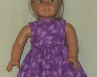 American Girl 18 inch Doll Dress Purple Butterflies