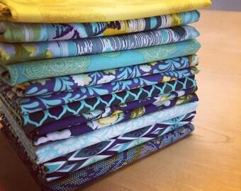 9 Tula Pink Fabrics -Tula Pink Fabric Stash Builder - Eden in Sapphire Colorway - Free Spirit Fabric - Fat Quarter - Half Yard
