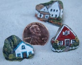 TEENY TINY, isty bitsy, wee little, penny sized, miniature hand painted rock houses set of three.