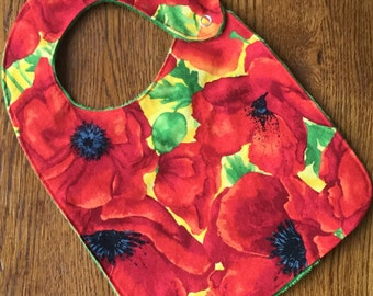 Red California Poppy Minky Baby/Toddler Bib